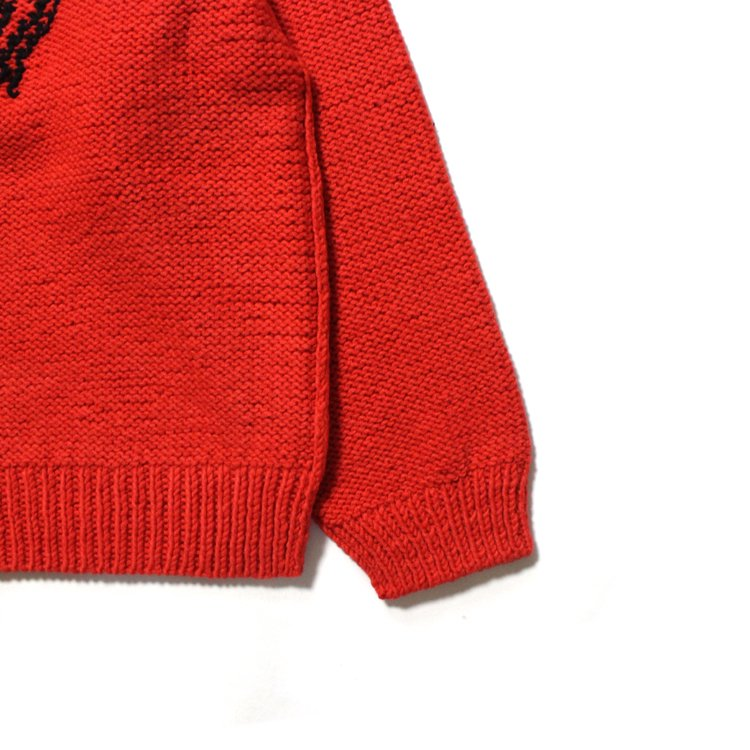 HAND-KNITTING JACQUARD PULLOVER #RED