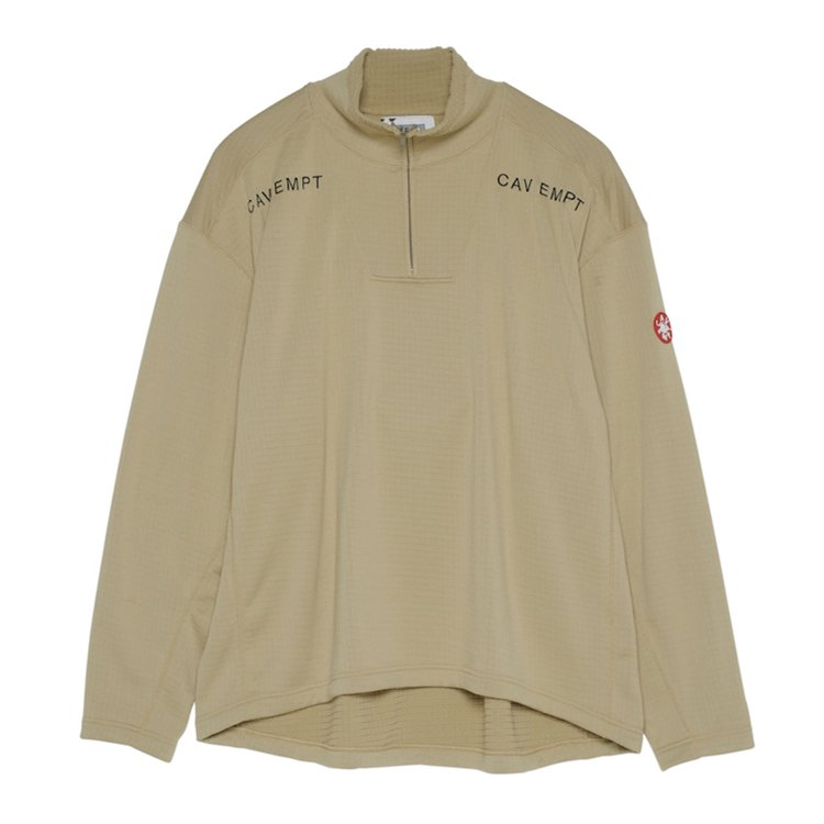 BLOCK FLEECE HALF ZIP #BEIGE
