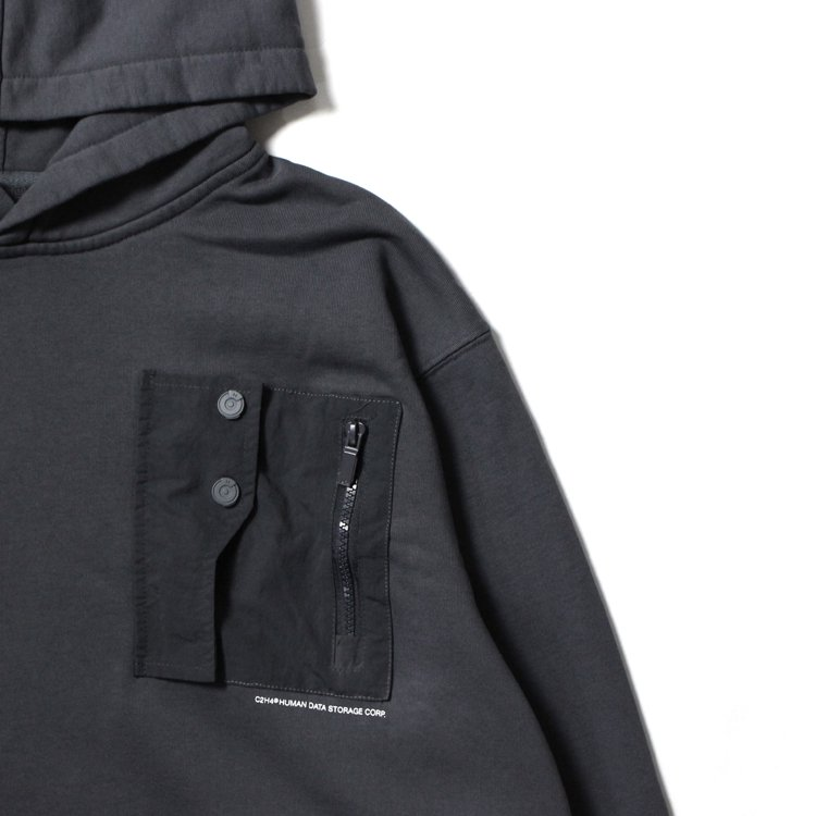 Layer Pocket Logo Hoodie #Dark Gray
