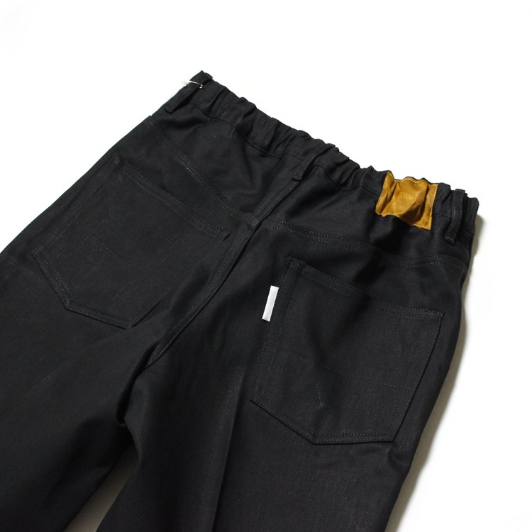 Straight Denim Slacks Rigid #BLACK