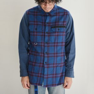 PEEL&LIFT-TARTAN FLANNEL WORK SHIRT-BLUE
