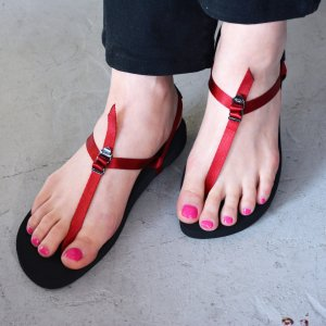 BAREFOOT SANDALS(DARK RED) / BEAUTIFUL SHOES by TOSHINOSUKE TAKEGAHARA