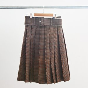 SHUSHU/TONG - Belted Check Skirt
