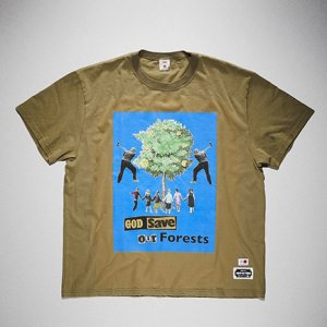 KIDILL x EDWIN-GOD SAVE OUR FOREST PRINT TSHIRTS (KHAKI)