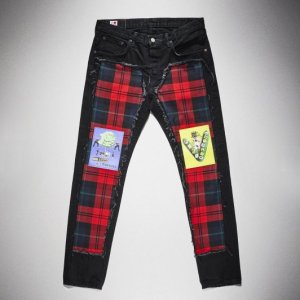 KIDILL x EDWIN-Tapered with Check Textile(Black×Red)