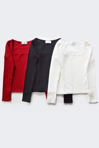 <img class='new_mark_img1' src='https://img.shop-pro.jp/img/new/icons8.gif' style='border:none;display:inline;margin:0px;padding:0px;width:auto;' />TEDDY / Wide Square Neck Lib Tshirts(3 Colors)