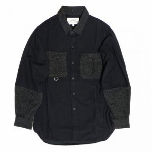<img class='new_mark_img1' src='//img.shop-pro.jp/img/new/icons8.gif' style='border:none;display:inline;margin:0px;padding:0px;width:auto;' />PEEL&LIFT-satin army shirt-black/charcol