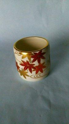 茶道具 蓋置 色絵 紅葉画、 相模竜泉作--参考品