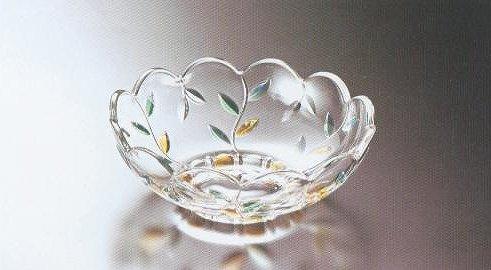ガラスの器 リーフカット 盛鉢【 完売 】