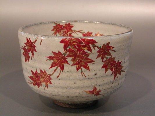 【 茶道具・抹茶茶碗 】茶碗 色絵 紅葉、 中村清彩作