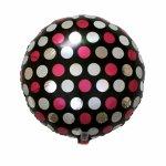 ピンク&ホワイト ドッツ 18インチ ヘリウム封入発送