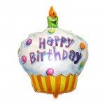ハッピィバースデーカップケーキ(W74cm×H91cm:自動弁、リボン2m付き)ヘリウム封入発送