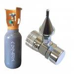 レンタルヘリウムガスダルマボンベ500L:ワンプッシュ式インフレーター(手締めタイプ)付き