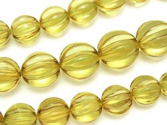 天然石卸 1点もの!宝石質グリーンアンバーAAA ライン入りラウンド8〜14mm 1連(約40cm)