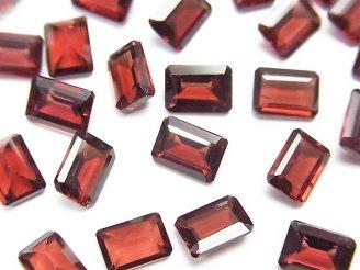 天然石卸 宝石質モザンビーク産ガーネットAAA 穴なしレクタングルファセットカット7×5×3mm 5粒780円!