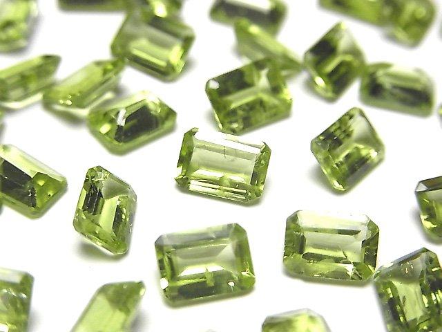 宝石質ペリドットAAA- 穴なしレクタングルファセットカット7×5×3mm 5粒