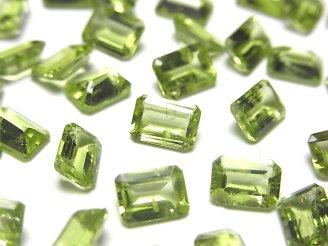 天然石卸 宝石質ペリドットAAA- 穴なしレクタングルファセットカット7×5×3mm5粒680円!