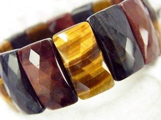 天然石卸 タイガーアイAA++ 3色ミックス 2つ穴レクタングルカット23×12×7mm 1連(ブレス)