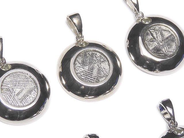 メテオライト(ムオニナルスタ隕石)&モルダバイト1石! コイン型ペンダントトップ15mm SILVER925製