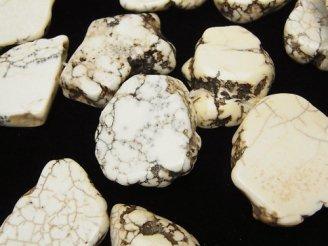 天然石卸 1連780円!マグネサイト 大粒スライスタンブル クレオ穴 1連(約38cm)