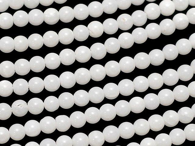 【動画】ホワイトコーラル(白珊瑚) 極小ラウンド2mm 1連(約38cm)