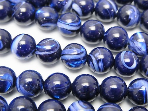マザーオブパール ブルー ラウンド8mm 1連(約37cm)