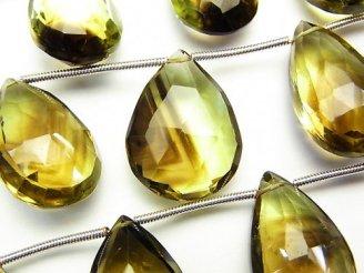 天然石卸 宝石質レモン×スモーキークォーツAAA 大粒ペアシェイプ ブリオレットカット 半連/1連(約10cm)