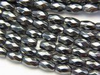 天然石卸 ◆磁気入り◆1連680円!ヘマタイト ライスカット6×4×4mm  1連(約38cm)