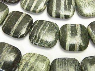 天然石卸 ブラジル産サーペンティン スクエア20×20×7 半連/1連(約38cm)