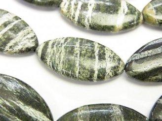 天然石卸 ブラジル産サーペンティン マーキス30×15×6 半連/1連(約32cm)