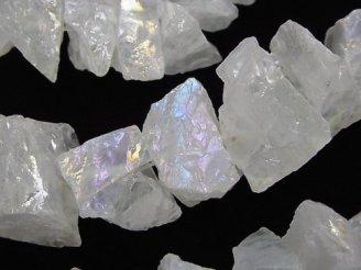 天然石卸 1連1,280円!クリスタル 大粒ラフロックタンブル ABコーティング 1連(約37cm)