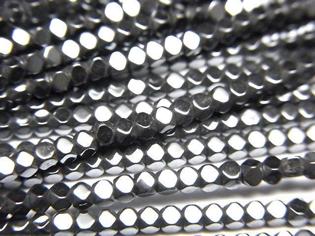 ヘマタイト 極小キューブカット2×2×2mm  1連(約38cm)