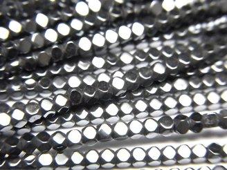 天然石卸 1連380円!ヘマタイト 極小キューブカット2×2×2mm  1連(約38cm)