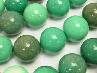 天然石卸 天然色グリーンカルセドニー ラウンド18mm 半連/1連(約36cm)