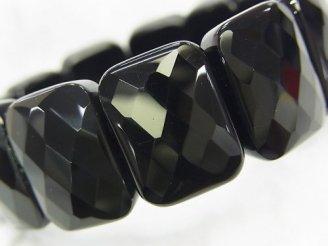 天然石卸 1連1,680円!オニキスAAA 2つ穴レクタングルカット20×15×7 1連(ブレス)