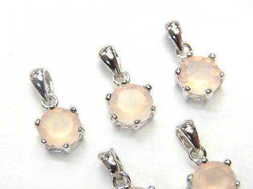 宝石質ピンクカラーカルセドニーAAA ラウンドファセットカット ペンダントトップ8×7×5mm SV925製の画像