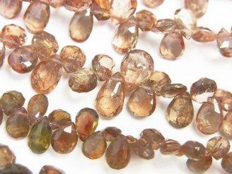 天然石卸 宝石質アンダルサイトAAA ペアシェイプ ブリオレットカット 半連/1連(約22cm)