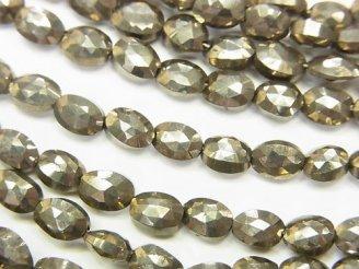 1連1,380円!宝石質パイライトAAA- オーバルカット 1連(約18cm)