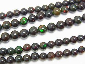 天然石卸 宝石質エチオピア産ブラックオパールAAA++ ラウンド3〜5mm サイズグラデーション 1連(約38cm)