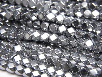 天然石卸 1連380円!ヘマタイト 小粒キューブカット3×3×3 シルバーコーティング 1連(約38cm)