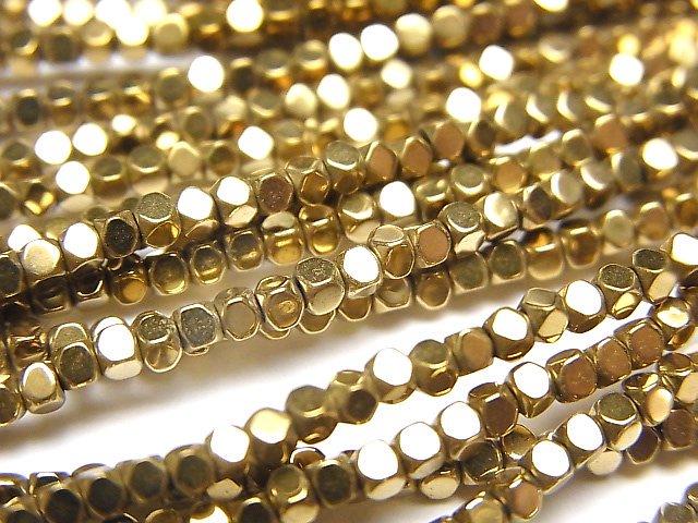 ヘマタイト 極小キューブカット2×2×2mm  ゴールドコーティング 1連(約38cm)