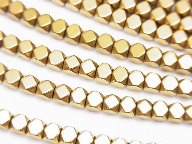 ヘマタイト 小粒キューブカット3×3×3mm ゴールドコーティング 1連(約38cm)