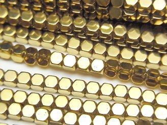 天然石卸 1連380円!ヘマタイト 小粒キューブカット3×3×3 ゴールドコーティング 1連(約38cm)