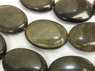 天然石卸 ゴールデンシャイン オブシディアン オーバル30×22×8 半連/1連(約36cm)