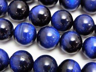 天然石卸 ブルーカラータイガーアイAAA ラウンド12mm 半連/1連(約38cm)