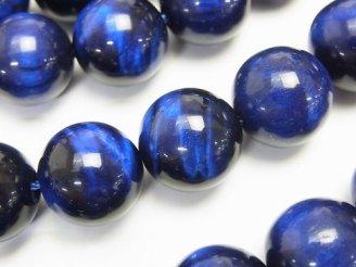天然石卸 ブルーカラータイガーアイAAA ラウンド14mm 1/4連〜1連(約36cm)