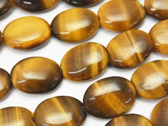 天然石卸 イエロータイガーアイAA++ オーバル16×12×5mm 半連/1連(約37cm)