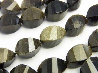 天然石卸 ゴールデンシャイン オブシディアン 4面ツイストライス×多面カット15×9×9 半連/1連