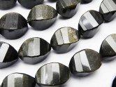 天然石卸 ゴールデンシャイン オブシディアン 4面ツイストライス×多面カット17×10×10 半連/1連