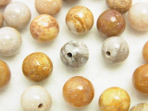 【粒売り】フォシルコーラル(化石珊瑚) 片穴ラウンド6mm・8mm 10粒